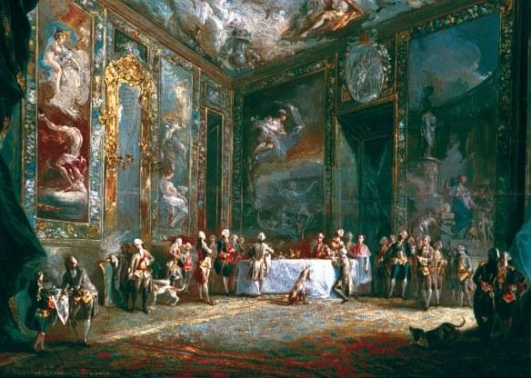 Carlos III comiendo ante su corte, de Paret, isftic